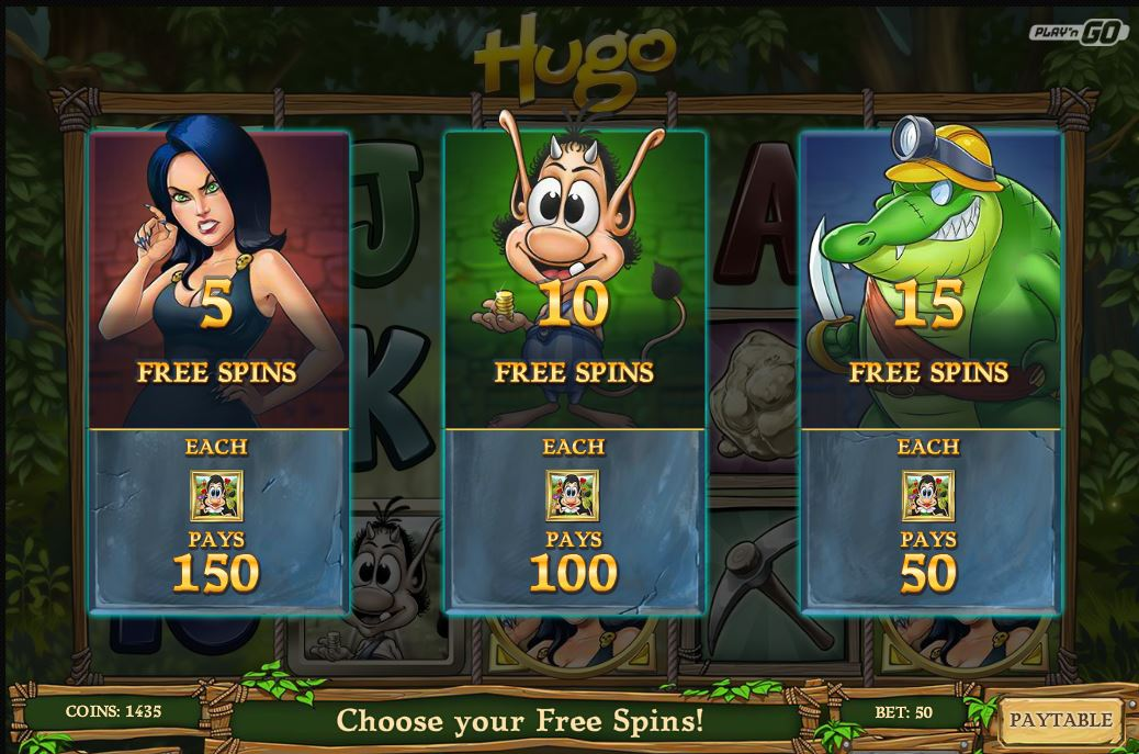 hugo slot free spins