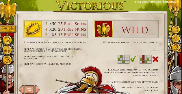 victorious paytable and free spins
